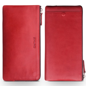 QIALINO Oil Wax Genuine Leather Clutch Wallet Pouch for Huawei Mate8/Mate7 Etc - Red