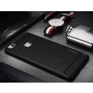IPAKY Brushed TPU Case for Huawei P9 Lite / G9 Lite with Carbon Fiber Decorated - Black