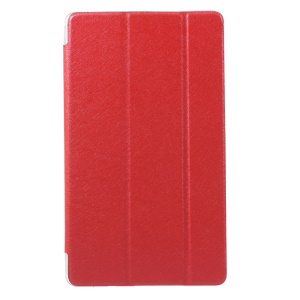 Silk Grain Tri-fold Leather Stand Shell for Huawei MediaPad M3 8.4 - Red