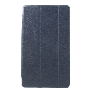 Silk Texture Tri-fold Leather Protector Cover for Huawei MediaPad M3 8.4 - Dark Blue