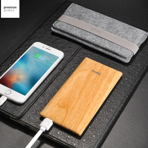HOCO B10 7000mAh 2.1A Wood Pattern Portable Power Bank for iPhone iPad Samsung