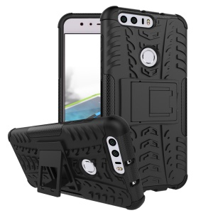Anti-slip PC + TPU Hybrid Case with Kickstand for Huawei Honor 8 - Black