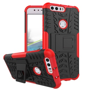 Anti-slip PC + TPU Combo Case with Kickstand for Huawei Honor 8 - Red