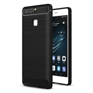 Rugged Armor Brushed TPU Back Case with Carbon Fiber Decorated for Huawei P9 - Black