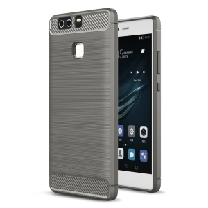Rugged Armor Brushed TPU Back Cover with Carbon Fiber Decorated for Huawei P9 - Grey