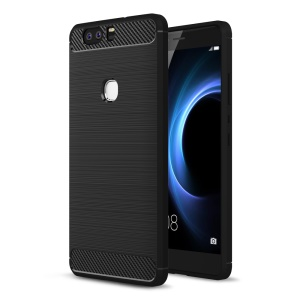 Carbon Fibre Brushed TPU Case for Huawei Honor V8 - Black