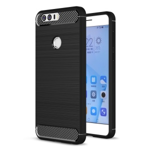 Carbon Fibre Brushed TPU Case for Huawei Honor 8 - Black