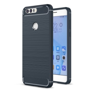 Carbon Fibre Brushed TPU Protective Case for Huawei Honor 8 - Dark Blue
