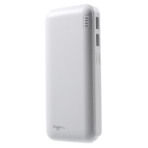 CAGER QC1 12000mAh 2.4A 2 USB Ports Power Bank with QC 2.0 for iPhone Samsung Huawei - White