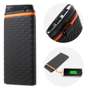 CAGER QC8 20000mAh Built-in Micro USB Cable Dual USB Li-polymer Fast Charge Power Bank - Black