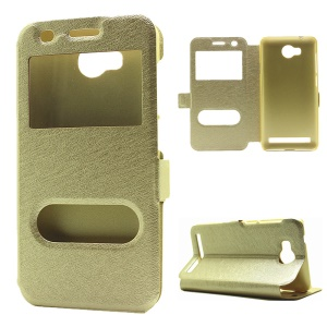 Silk Texture Dual View Window Leather Flip Cover for Huawei Y3 II / Y3II - Gold