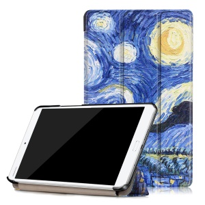 Patterned Tri-fold Stand Leather Cover for Huawei MediaPad M3 8.4 - Starry Night Oil Painting