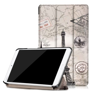 Patterned Leather Smart Flip Case for Huawei MediaPad M3 8.4 - Eiffel Tower and Map