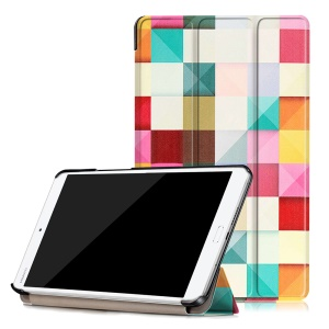 Patterned Leather Smart Flip Cover for Huawei MediaPad M3 8.4 - Colorful Triangles Grids