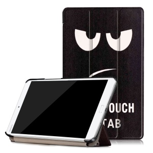 Patterned Tri-fold Stand Leather Protective Case for Huawei MediaPad M3 8.4 - Do Not Touch My Tab