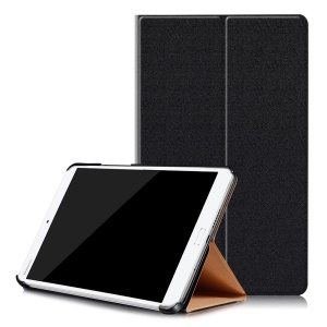 Sand-like Texture Leather Smart Case for Huawei MediaPad M3 8.4 - Black