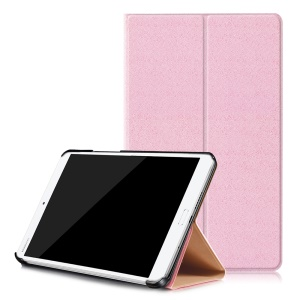 Sand-like Texture Leather Smart Shell Case for Huawei MediaPad M3 8.4 - Pink
