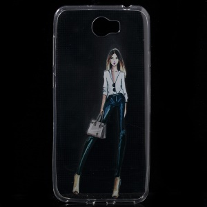 Super Thin Clear TPU Case for Huawei Y6 II Compact - Fashion Girl with Handbag