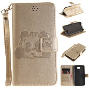 Imprinted Panda Leather Stand Case for Huawei Y5II/Y5 II - Gold