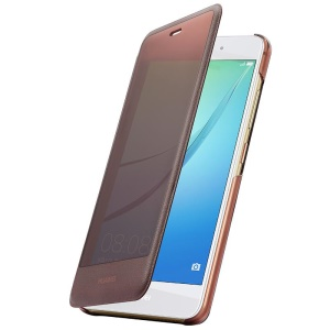 HUAWEI OEM Full View Window Leather Smart Cover Shell for Huawei nova - Brown