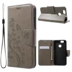 Imprinted Butterfly Flower Leather Wallet Stand Cover for Huawei Nova - Grey