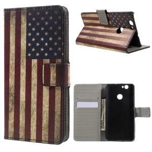 Wallet Leather Magnetic Case for Huawei nova - Retro American Flag