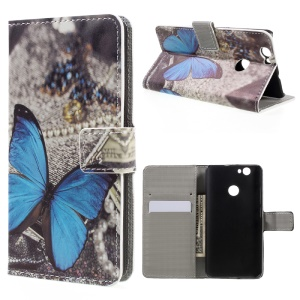 Leather Stand Case with Card Slots for Huawei nova - Blue Butterfly