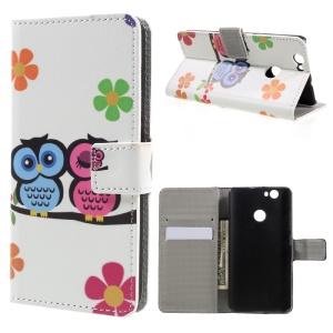 Wallet Leather Protective Case for Huawei nova - Owls and Flowers
