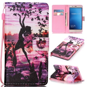 Phone Leather Stand Case for Huawei P9 Lite / G9 Lite - Dancing Girl