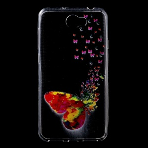Pattern Printing Clear TPU Cell Phone Case for Huawei Y6II Compact - Colorful Butterflies