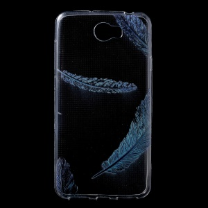Pattern Printing Clear TPU Back Phone Cover for Huawei Y6II Compact - Blue Feathers