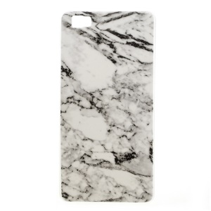 IMD Marble Pattern Soft TPU Cover Case for Huawei Ascend P8 Lite - Grey