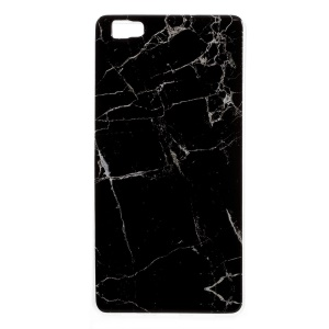 IMD Marble Pattern TPU Mobile Shell Case for Huawei Ascend P8 Lite - Black