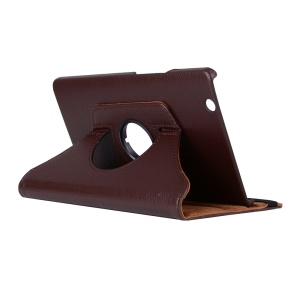 Litchi Grain Leather Case Rotary Stand Shell for Huawei MediaPad M3 8.4 Inch - Brown