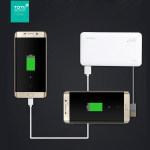 TOTU 6000mAh Dual USB Power Bank Built-in Micro USB + USB Cable for Samsung Huawei etc - White