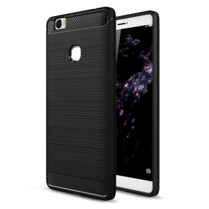 Brushed Carbon Fiber TPU Rugged Armor Case for Huawei Honor Note 8 - Black