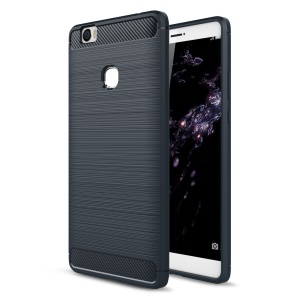 Brushed Carbon Fiber TPU Rugged Armor Phone Casing for Huawei Honor Note 8 - Dark Blue