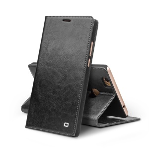 QIALINO Crazy Horse Genuine Leather Wallet Stand Case for Huawei Honor Note 8 - Black