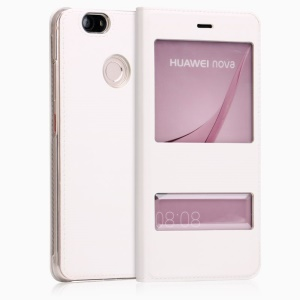 Double Window Leather Protection Case for Huawei Nova - White