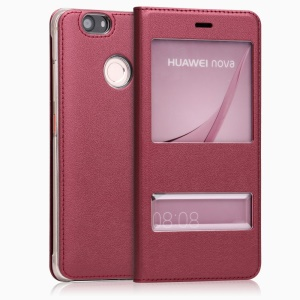 Leather Case Double Window Phone Cover for Huawei Nova - Red