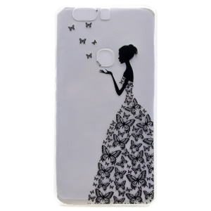 Pattern Printing TPU Case for Huawei Honor V8 - Butterfly Girl