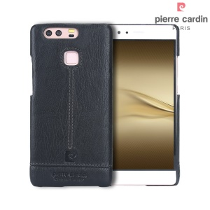 PIERRE CARDIN Genuine Leather Coated Hard Case for Huawei P9 - Black