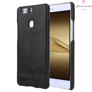 PIERRE CARDIN Genuine Leather Coated Hard Case for Huawei P9 Plus - Black