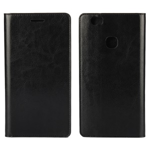 Crazy Horse Full Grain Genuine Leather Wallet Phone Case for Huawei Honor Note 8 - Black