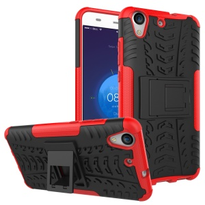 Tyre Pattern Hybrid PC + TPU Kickstand Case for Huawei Y6 II/Y6II/Honor 5A - Red