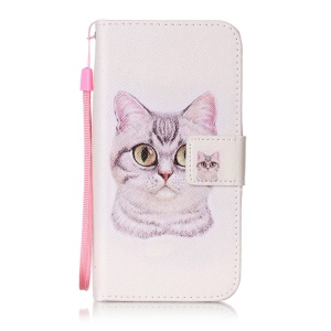 Patterned Leather Wallet Phone Case with Lanyard for Huawei Honor 4c - Lovely Cat