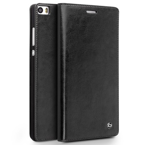 QIALINO Classic Wallet Genuine Cowhide Leather Case for Huawei Ascend P8 Max - Black