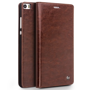 QIALINO Classic Genuine Cowhide Leather Wallet Cover for Huawei Ascend P8 Max - Brown
