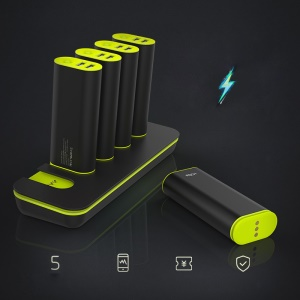ROCK Power Bank Docking Station (5 x 5200mAh Battery Chargers + 1 x Charging Dock) for Mobile Phones/Tabs - Black