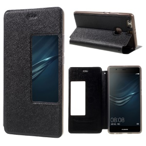 Cross Texture Smart View Window Leather Folio Phone Case for Huawei P9 Plus - Black